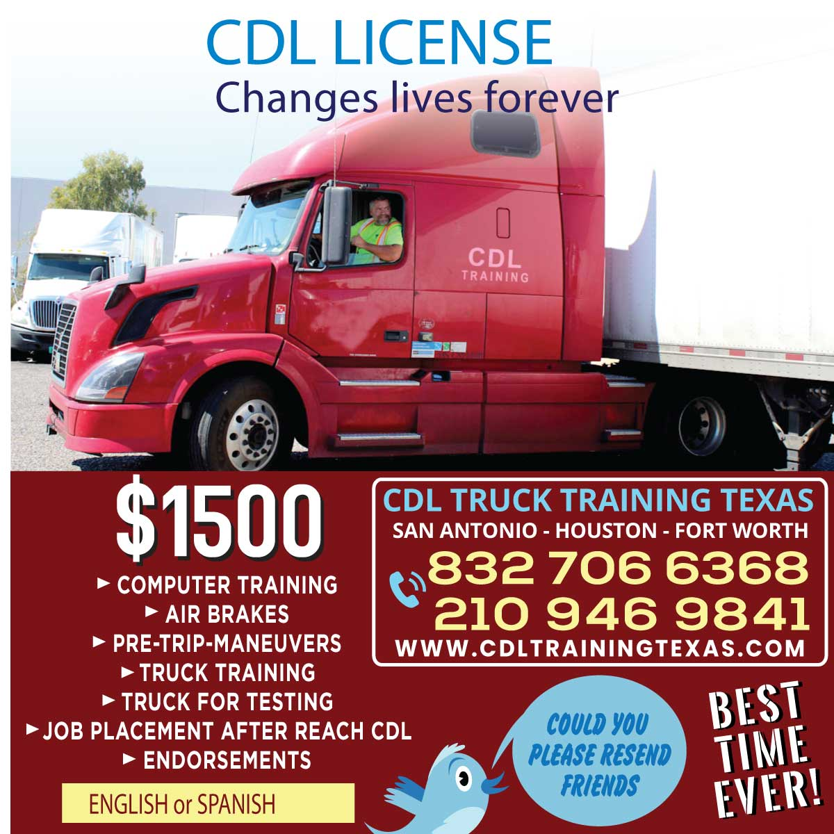 TOTAL information CDL TRUCK DRIVING SCHOOL HOUSTON phone numbers